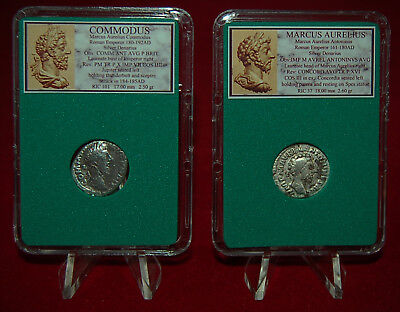 Ancient Roman Empire 2 Coins COMMODUS and MARCUS AURELIUS Silver Denarii