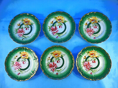Set 6 Hand Painted Dessert Plates Germany Vintage/antique Roses
