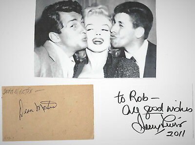 Dean Martin & Jerry Lewis/authentic And Genuine Hand Signed Autograph With Pici