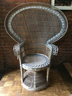 Large Vintage Wicker Peacock Chair - Retro Emmanuelle Rattan Chair - 1 Available