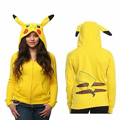 Pokemon Go Pikachu Cosplay Hoodie Jacket for Halloween Cosplay Party (S-XL)