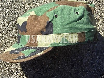 New 7 5/8 7 1/2 US Army Military Woodland Camouflage USGI Patrol Cap Hat Cover L