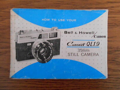 Manual : How to Use Your Bell & Howell / Canon Canonet QL 1.9 35mm Still Camera
