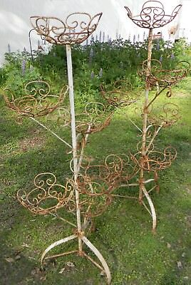 Vintage Pair Mid Century Wrought Iron Tired Plant Stands Rope Twist