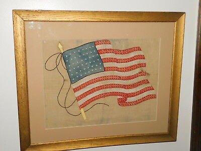 Antique Framed Historic Heirloom 48 Star American Flag c 1917 WWI Folk Art