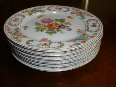 ROSE CHINA JAPAN Luncheon Plates DRESDEN FLORAL GOLD VERGE & TRIM Set of 6