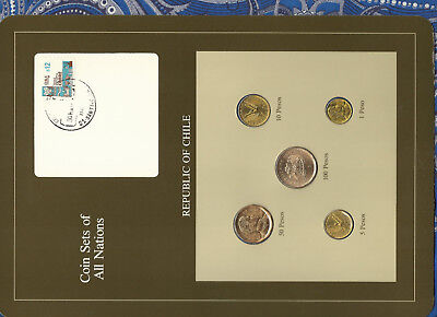 Coin Sets of All Nations Chile UNC 1,5,10 Pesos 1986 100 Pesos 1985 50 Peso 1982
