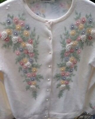 Vintage Sovereign Hand Beaded Women's Sweater Size Small Lambswool & Angora