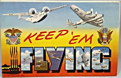 c1941 WWII KEEP 'EM FLYING POSTCARD PACK 17 Photos Planes, Tanks by Curt Teich