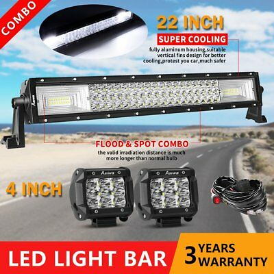 """22inch LED Light Bar Spot Flood Combo + CREE 2x 4"""" Pods Ford SUV 4WD Jeep UTE 24"""
