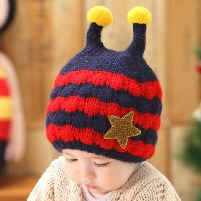 25d70c3d99235f Kids Earflap Hat Navy Red Toddler Knit Animal Bee Warm Cap For Baby Boys  Girls