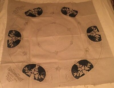 Stamped Painted Oatmeal Linen Tablecloth Royal Society Art Deco Arts & Crafts