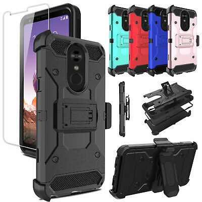 For LG Stylo 4/4 Plus Phone Case Shockproof With Kickstand Clip+Screen Protector