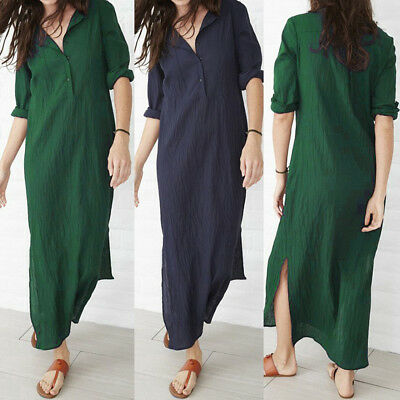 Pretty Women Long Sleeve V-Neck Button Loose Cotton Linen Splits Maxi Dress Plus