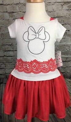 Minnie Mouse Red White Tulle Dress Summer Disney  Girls Size 3T 5 6 6X