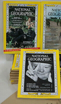 National Geographic 1965 Lot of 11 Magazines Churchill Jane Goodall Vietnam Map