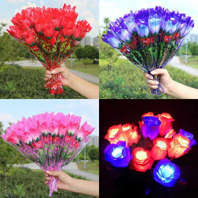 Simulation glow rose Flower gift led lighted rose High Quality Fashionable