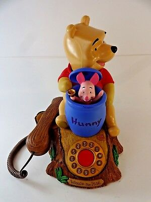 Disney Winnie the Pooh & Piglet Talking Animated Telephone w/ Honey Pot WORKING!
