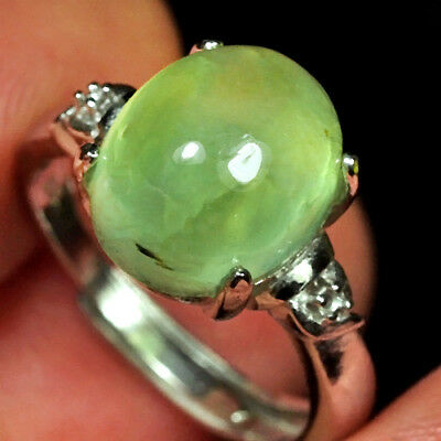 16.25CT 100% Natural 18K Gold Plated Green Prehnite Cab Ring UDPG176