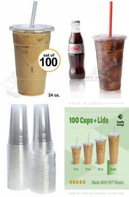 COMFY PACKAGE 100 Sets 24 oz. Plastic CRYSTAL CLEAR Cups with Flat Lids for...