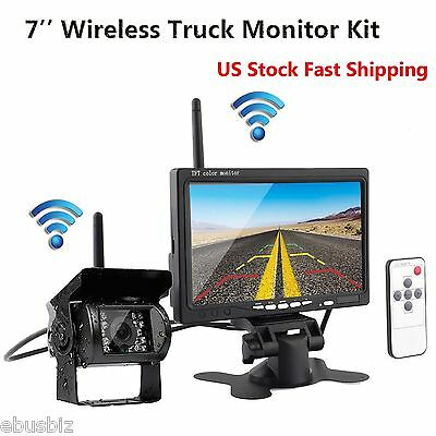 "Wireless HD Night Vision Rear View Backup Camera+7"" Monitor for RV Bus Truck Kit"