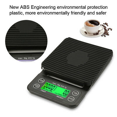 3kg 0.1g High Precision LCD Electronic Drip Coffee Kitchen Food Gram Scale