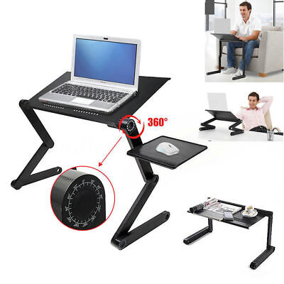 Black 360°Adjustable Folding Laptop Table Lap Desk Bed Computer Tray Stand