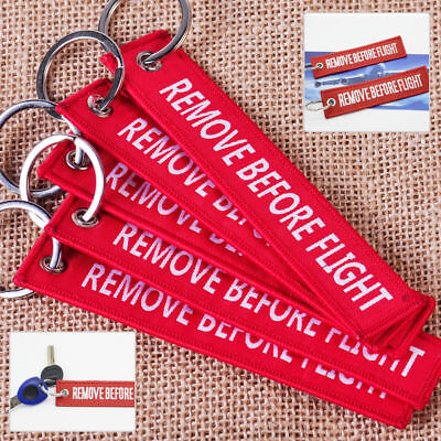5 Embroidered REMOVE BEFORE FLIGHT Keychain Lanyard Luggage Tag Keyring Aircraft