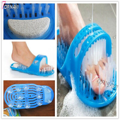 Easy feet Foot Scrubber Brush Massager Shower Clean Blue Slippers no stooping