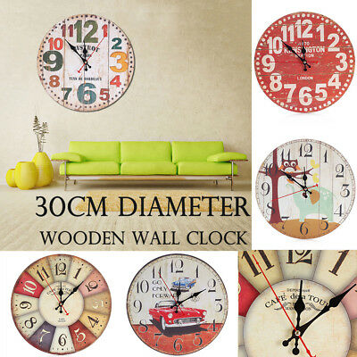 Wooden Wall Clock Modern Vintage Rustic Shabby Chic Home Office Cafe Decoration