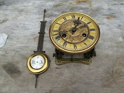 A Vienna Small Wall Clock Count Wheel Striking Movement With Dial/seat/pendulum