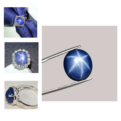 Superb Sharp 6 Rays Star Royal Blue Sapphire Oval Cabochon NATURAL Stone 4.5 ct