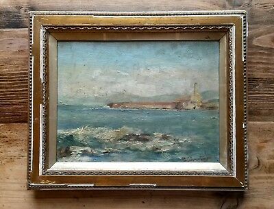 Antique 19th Century French Impressionist Seascape Oil Painting-Signed Verdier