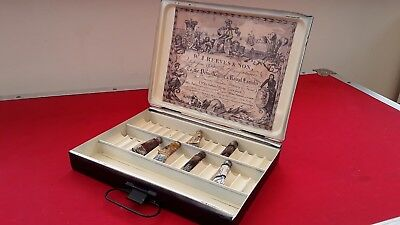 ANTIQUE 1920s REEVES VINTAGE BLACK OIL PAINT TIN TRAVEL BOX ARTISTS