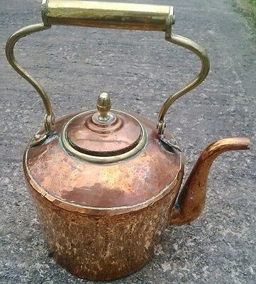 "Genuine Large 12"" Antique Hammered Copper Range Kettle with Pivot Handle (Lot D)"