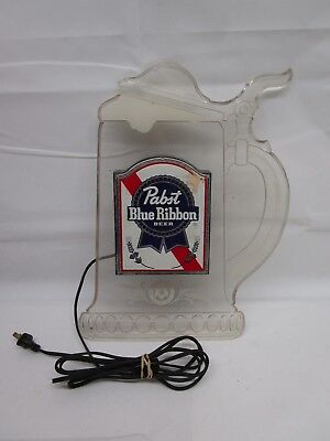 PABST BLUE RIBBON Beer Clear Stein Electric Illuminated Wall Sign / Plastic
