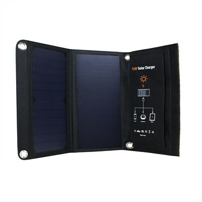Solar Panel Folding Portable Power Charger Dual USB Travel Phone Charger 15W