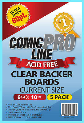 5 COMIC PRO LINE Crystal CLEAR CURRENT SIZE 60pt BACKER BOARDS Acid Free Backing