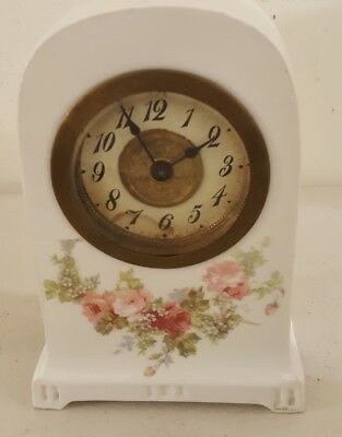 Antique Working 19th C. Rosenthal Germany Porcelain Ceramic Wind-Up Mantel Clock