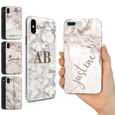Personalised Champagne Rose Gold Marble Name Initials Gel Phone Cover For Iphone