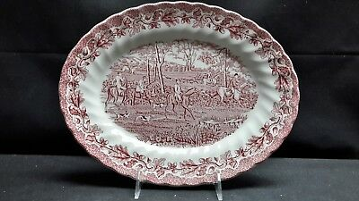 Myott Staffordshire England Country Life Pink Oval Serving Platter