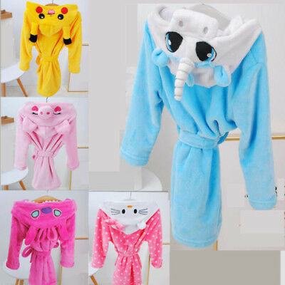Winter Children Pajamas Hooded Bathrobe Soft Bath Robe Cute Cartoon Kids Robes