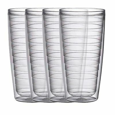 Plastic Tumblers Double Wall Insulation Clear 24oz Hot & Iced Drinks