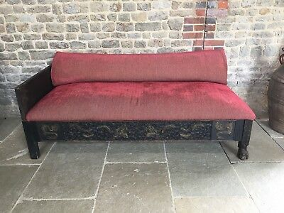 Rare Oriental Upholstered Antique Chinese, Wooden carved OPIUM bed. daybed, sofa