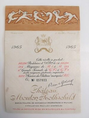 Wine Label / Etiquette Vin /France Mouton Rothschild ,1965 original No. 057803