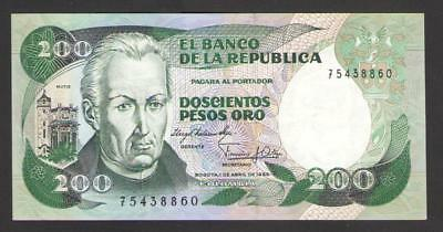COLOMBIA   200   PESOS  ORO  1983   P 429a   about Uncirculated