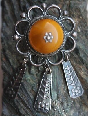 Antique Vintage Silver Ornament Brooch Fibula With Amber And Pendants