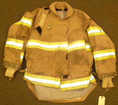 46x29 Firefighter Jacket Coat Bunker Turn Out Gear Brown Morning Pride J583