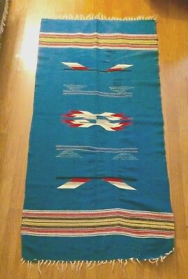 "ANTIQUE VINTAGE COLORFUL BLUE CHIMAYO 60"" x 29"" HANDWOVEN RUG WOOL"