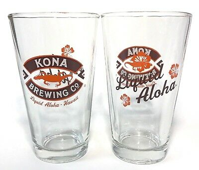 Kona Brewing Co Liquid Aloha Pint Glass - New Style - Set of Two (2) ~ New & F/S